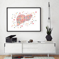 The Liver watercolor print the human liver poster medical art anatomy art liver illustration abstract liver print surgery science art gift