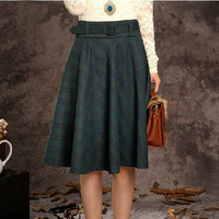 Grid Long Skirt