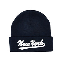 River Island Boys navy New York beanie hat