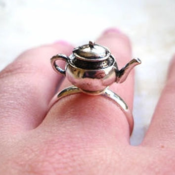 SALE - Alice in Wonderland Tea Pot Adjustable Ring, Tea party, Silver, Teapot, Silver, Metal