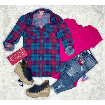 Penny Plaid Flannel Top - Pink/Blues