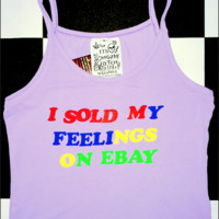 SWEET LORD O'MIGHTY! SOLD MY FEELINGS SPAGHETTI TANK IN PURPLE