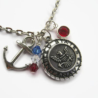 US Navy Necklace, Sailor Necklace, Military Jewelry, Navy Seal Personalized Necklace, Naval, Choose Your Length, Patriotic, Armed Forces