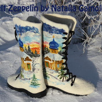 Felt Boots, Needle Felt, Russian Winter, Snow Landscape, Churchlet, 100% Wool
