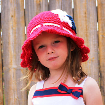 4th of July Hat, Crochet Baby Hat, Kids Hat, Hat for Girls, Summer Hat, Baby Sun Hat, Crocheted Sun Hat, Sun Hat, Red White and Blue