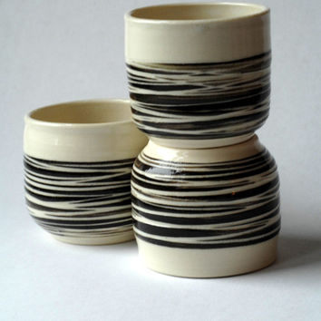 Made to order,Yunomi, 3 mugs no handles, wine tumblers, espresso cups, striped mugs, pottery cups, ceramic cups