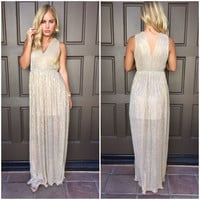 Vogue Metallic Maxi Dress