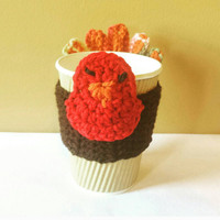 Turkey Coffee Cozy, Thanksgiving Gift, Crochet Coffee Cuff, Cute Mug Warmer, Office Decor, Employee Gift, Tea Cup Sleeve Fun Gift for Friend