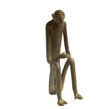 Large Seated Monkey with Hands Touching Vintage African Bronze Sculpture