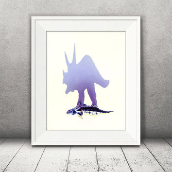 Dinosaurs Print, Triceratops Print, Dino Wall Art, Wall Art Photography, Child Room Décor, Nursery Decor, kids room Decor