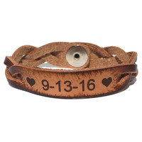 Celebrate the Date Leather Bracelet