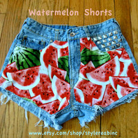 Watermelon Jean Shorts.  Delicious Summery Fruit on mid rise XS Size 1 light blue shorts. Gorgeous for Summer. Teens Women