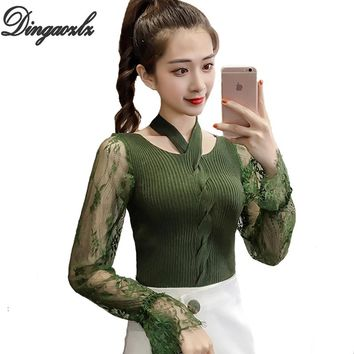 Dingaozlz New Fashion Women Sweater Autumn Winter Lace sweater Tops Patchwork Basic Knitted shirt long sleeved Pullovers Sweater