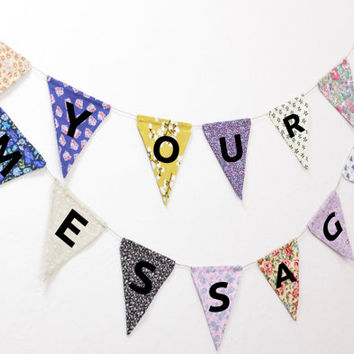 Customized Lettered Flag Banner Fabric Reversible Bunting // Room Wedding Dorm Birthday Party Photo Prop Name Love Cheers Baby Mr & Mrs