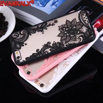 Hot Sexy Lace Flower Mandala Full edge Case For iPhone 5 5s se 6 6s 7 Fashion Coque Capa Phone Back Cover For iPhone 6 6S 7 Plus