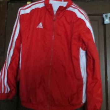 Vintage ADIDAS nylon Windbreaker RED White stripes Jacket - Size SMALL