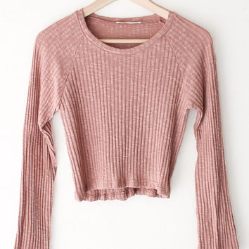 Long Sleeve Crop Top - Rose