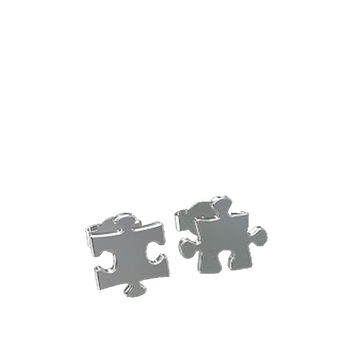 PUZZLE STUD EARRINGS - SILVER