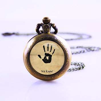 Skyrim Dark Brotherhood Necklace, Pocket Watch Vintage Watch ,Gamer Necklace ,Charm pendant pocket Watch necklace