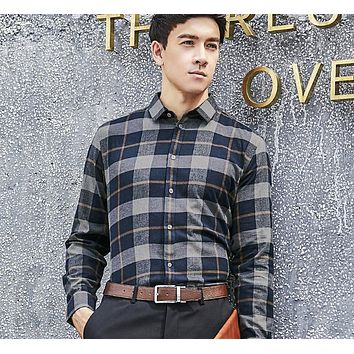 Turn-down Collar Slim Fit Flannel Plaid Shirt