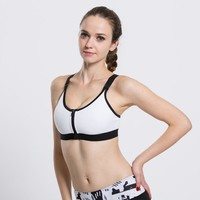 White Front Zip Up Closure Cut Out Detailing Sports Bra