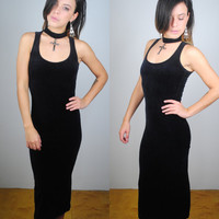 Vintage 1990s Black velvet grunge goth Maxi Halter choker Dress Party Dress XS S