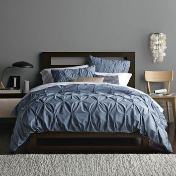 Organic Cotton Pintuck Duvet Cover + Shams - Steel Blue