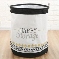 Happy Foldable Cloth Laundry Hamper Toy Storage Basket