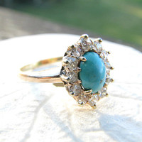 Antique Diamond Halo Turquoise Ring, Old Mine Cut Diamonds, 14K Gold, Sweet and Charming, Victorian Era