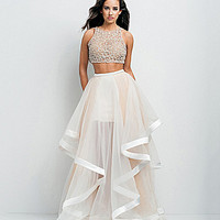 Glamour by Terani Couture Beaded Bodice Two-Piece Ball Gown | Dillards.com