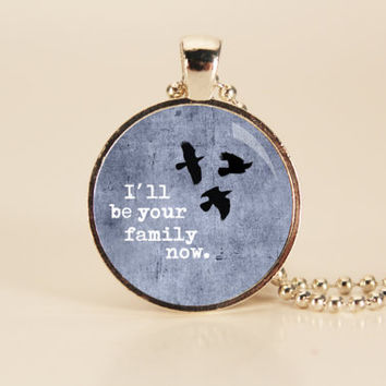 DIVERGENT  Three Birds Book Art Charm Necklace