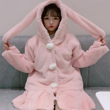 Patchwork Kawaii Bunny Girl Rabbit Ears Hooded Plush Warm Ruffles Hem Tail Hairball Button Long Chaquet Sweatshirt Pink Hoodies