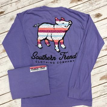 Spots & Stripes Proud Pig Long Sleeve Tee {Violet}