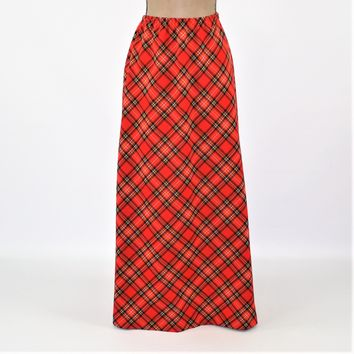 1970s Black & Orange Plaid Skirt Long 70s Maxi Skirt Large XL Fall Skirt A Line Size 14 Skirt Plus Size 16 Skirt Vintage Clothing Women