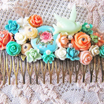 Flower Hair Comb Bridal Bridesmaids Hair Comb Mint Green Aqua Coral Pink Pastel Soft Romantic Wedding Hair Comb