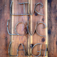 "RING ART - ""Live Laugh Love"" - 100% recycled from Napa Wine Barrel Rings"