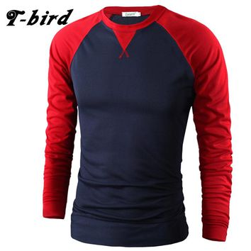 T-Bird Brand Men T Shirt Cotton 2017 High Quality New Casual Tshirt Compression Mens Long Sleeve T-Shirt O-Neck Men'S Stripe XXL