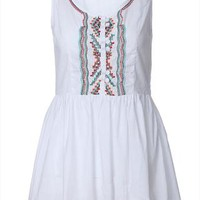 Folk Style Floral Embroidered Sleeveless Dress
