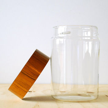 Vintage Pyrex Glass Canister with Faux Bois Lid Woodgrain
