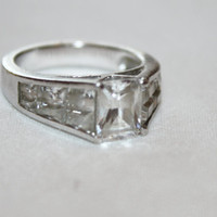 Sterling Ring CZ Cocktail Engagement Vintage 1980s CZ Jewelry