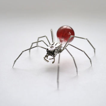 Clockwork Spider Sculpture No 42 Recycled Watch Parts Clockwork Arachnid Figurine Stems Lightbulb Arthropod A Mechanical Mind Gershenson