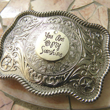 You Are My Sunshine Silver Belt Buckle, Music Song Lyrics, Song Quotes, Western Womens Girls Belt Buckle, Pageant OOC Rhinestone Buckle