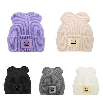 Autumn Winter Baby Knitted Hats for Toddler Boys Girls Robot Thick Warm Cap Fashion Children Crochet Cap Beanie Solid Girls Cap