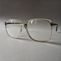 Vintage 70's Eyewear Huge Men's Professor Square Nerd Plastic and Metal Eyeglasses