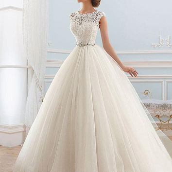 In Stock Dress Vestido de noiva Lace Tulle Bride Wedding Dress 2016 Princess Tube Beading Wedding Gown Customized Floor Length
