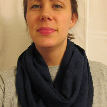 Great for Winter! Dark Blue Ribbed and Indented, Homemade, Infinity Scarf.