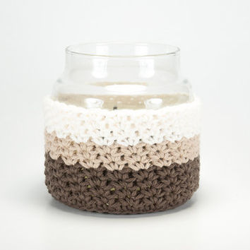 Candle cover, Yankee Candle cozy, crochet cozy, crocheted jar cover, brown ombre jar cozy, Mother's Day gift, birthday gifts for her