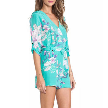 Women's elegant Sky blue floral print jumpsuits pants half sleeve Rompers with seashes Zipper casual slim brand pants KZ592