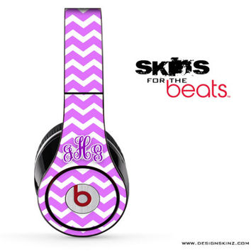 Purple and White Chevron Pattern Custom Monogram Skin for the Beats by Dre Studio, Solo, MIXR, Pro or Wireless Version Headphones