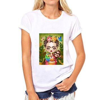 Fashion Mexican Artists Frida Kahlo Printed Loose O Neck Short Sleeve T Shirt Women's Clothing Modal Tops Tees Casual Shirts